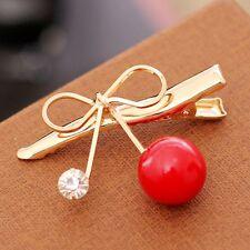 Accessories Women Cherry Hairpin Bowknot Hair Clip Pearl Hair Claw Barrette