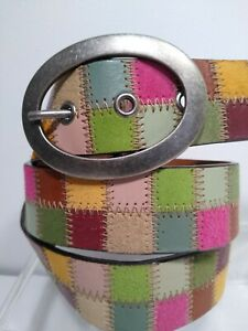 Fossil Leather Patchwork Multicolor Large Women's belt 11B077 Green Pink