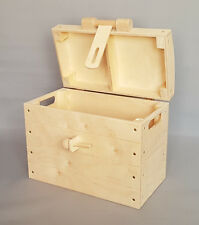 Wooden Large Chest Storage With Wood Locker Toy Tools Box Pirate Treasure Craft