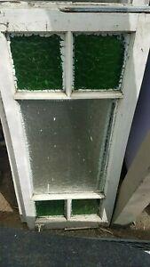 2x Vintage Gorgeous Queenslander Casement Windows Green Glass (45cmx107cm x 2)