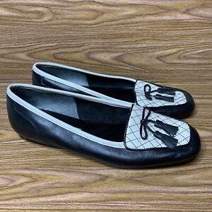 Enzo Angiolini Ealizzia Slip On Loafers 6.5M Black  White Leather Tassel Shoes