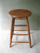 """Antique Stool Vintage Primitive Oak/Pine Wood 24-1/4"""" Tall Round Seat Stand"""