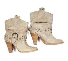 Not Rated Embellished Ankle Boots Size 8.5 Tan Bone Buckle Round Toe