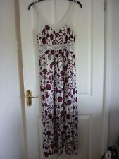 MANTARAY RED IVORY PINK FLORAL LACE MAXI DRESS UK 12, EUR 40, US 8 FAB CONDITION