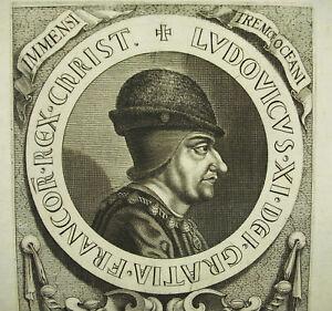 Jean MORIN Louis XI rare portrait gravure c1635 XVIIe d'après Jean FOUQUET ?