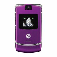 Motorola Razr V3 Unlocked Bluetooth Cellular Phone Flip Mobile Phone - Purple