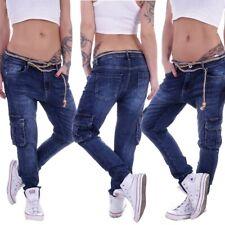Boyfriend Damen Jeans Cargojeans Chino Baggy Harems Hose Hüftjeans Denim D30