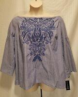 New INC Woman's Plus Size 0X 2X Blue & White Striped Off Shoulder Top Blouse $79
