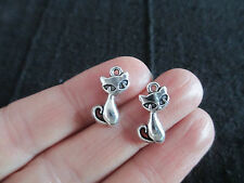 Pack of 10 Small Cat Charms, Vintage style Tibetan Silver Pendant  17mm x 9mm