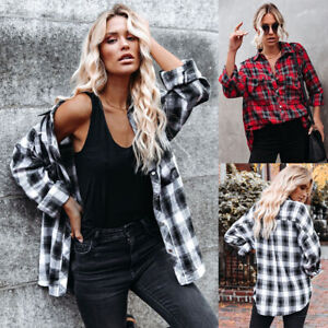 UK Women Plaid Checked Button Down Shirt Ladies Long Sleeve Blouse Tunic Tops