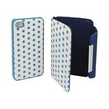 Etui Pour iPhone 4S / 4 Portefeuille + Coque 2 en 1 Cuir à points Bleue