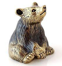 """Bear Figurine Brass Bronze Bell Animal Miniature Sculpture Russian Souvenir 1.3"""""""