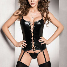 Faux Leather Bra Strap Basques & Corsets for Women