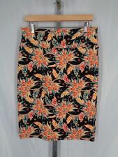 Lularoe Floral Cassie Skirt Size Medium Quilted Black Coral Stretch