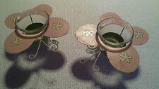 Kerzenständer 2 x Teelichthalter Schmetterlinge Blech rosa for all the girls