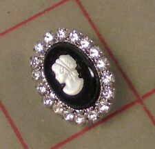 "1 Vintage Oval Rhinestone Black & Silver Czech Shank Button Cameo 3/4"" 20mm 103"