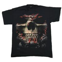 VTG 2005 SKULBONE ALL OVER PRINT GRAPHIC BLOOD SCARY Y2K BLACK T SHIRT SIZE M