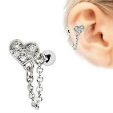 316L Stainless Steel Clear CZ Heart Chain Wrap Cartilage Earring