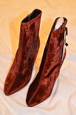 Zara High Heeled Velvet Brick Ankle Boots Size EUR 37 / US 6 1/2