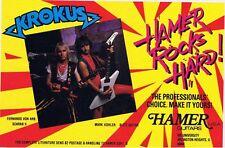 KROKUS in a HAMER PINUP PRINT AD Guitar HITS HARD Fernando Von Arb Mark Kohler
