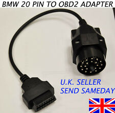 BMW 20 PIN TO 16 PIN FEMALE OBD2 BMW ADAPTOR DIAGNOSTIC LEAD CONVERTER UK SELLER