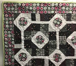 """Quilt~Black White Pink Lime Green~58"""" X 43""""~Vibrant Colors~Hand made~Throw~Fun~"""