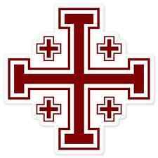 "Jerusalem Cross Christian Religious car bumper sticker decal 4"" x 4"""