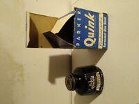 Vintage Parker Quink Blue Black Ink with Original Box, Almost Empty Ink