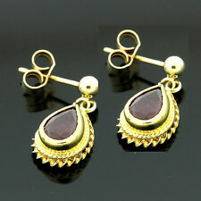 9ct Yellow Gold Genuine Ruby Earrings - Free Leatherette Box-Made in the UK