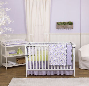Lavender Purple Poppy Flowers Floral 4 Piece Crib Bedding Set by Balboa Baby