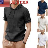 New Men's Stripe Hooded Pullover Shirt Short Sleeve Linen T-shirt Slim Fit Tops