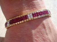 TOP Armband 750 Gold 126 Rubine 18,00 CT 28 Diamanten ca 2,50 ct Oro 18K 31,3 g.