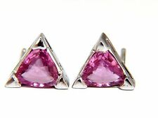1.38ct natural vivid pink trilliant sapphire stud earrings 14kt