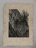 Original Woodcut Starburst Yucca Mojave Desert Valley of Fire Flora Cactus