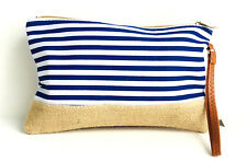Blue and White Striped Burlap Bottom Clutch Makeup Accessory Bag