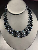 "1950S  Black Glass Beaded  Ab Pearl  Three Strand Necklace 13-16"" Signed Japan"