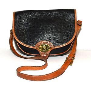 Vtg Dooney & Bouke All Weather Leather Black & Tan Saddle Bag Style Shoulder Bag
