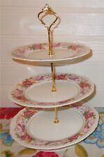 3 TIER TRINKET CAKE STAND DISPLAY BIDEFORD WOODS BURSLEM RED GREEN PINK  FLORAL