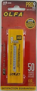OLFA 5015 AB-50B 9mm Snap-Off Silver Carbon Tool Steel Blades, 50-Pack