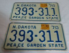 1970 North Dakota Automobile License Plates Matching Pair