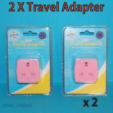 2 X Euro Travel Adapter  - Convert UK 3 Pin Plug to EU 2 Pin Plug sockets - Pink