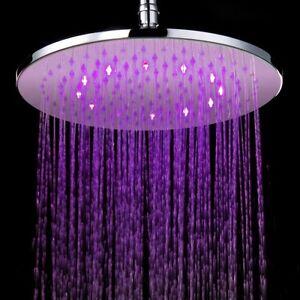 LED Duschbrause Duschkopf Regendusche rund 40 cm massiv Messing verchromt
