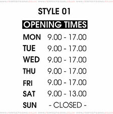 Opening Hours Times Shop Window Sign Style 01 Wall Vinyl Sticker Small Decal