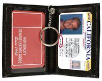 Black Leather Men's Bifold Wallet 2 Driver's License ID Card Keychain Holder