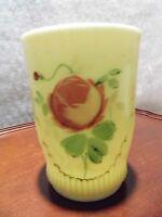 Antique Jefferson Custard Glass RIBBED DRAPE Tumbler Vaseline c.1900 EAPG Rare