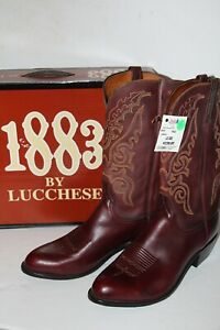1883 Lucchese Boots Size 12 Mahogny Brown Cowboy Boots New W/ Defects