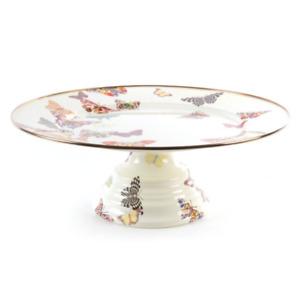 McKenzie-Childs Butterfly Large Garden Enamel Pedestal Platter Dessert Tray