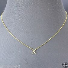Gold Finish Accent Initial K Cubic Zirconia Rhinestones Pendant Dainty Necklace