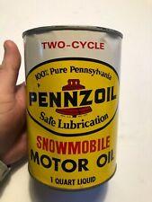 PENNZOIL~ 2 CYCLE SNOWMOBILE MOTOR OIL~ FULL QUART~ METAL~TIN CAN