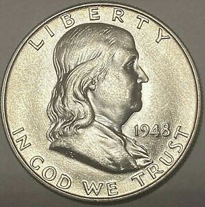 GEM BU 1948 Franklin Half Dollar Philadelphia Silver -Better Date First Year!